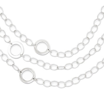 925 Sterling Silver 3-Tier Circle Link Chain Necklace: Size: 24