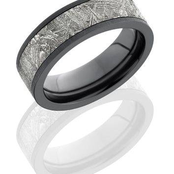 Zirconium wedding ring 7mm hand crafted Flat Band with rare 5mm Meteorite inlay