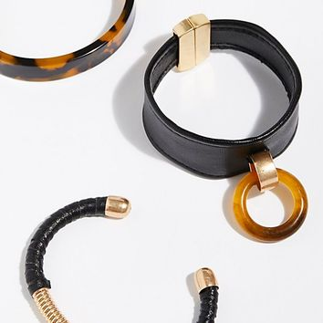 Lucite x Leather Bracelet Set