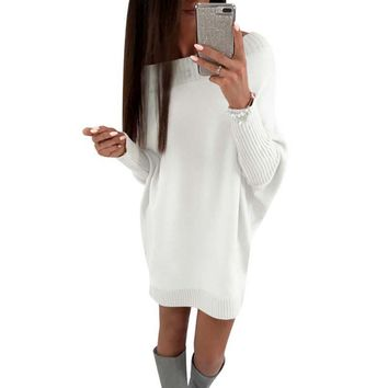 LAAMEI Batwing Sleeve Knitted Sweater Dress Autumn Winter Long Sleeve O Neck Casual Women Knitted Dress Sexy Female Dresses