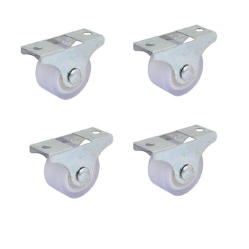 UXCELL Furniture Trolley Iron Top Plate Silent Pvc Fixed Caster Wheel 1 Inch Dia 4Pcs