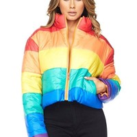 Skittles Cropped Puffer Jacket