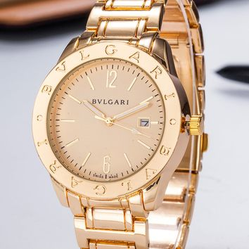 Bvlgari Trending Women's Men Classic Pure Color Watches B-PS-XSDZBSH Gold