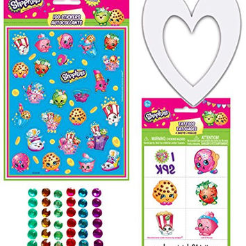 Shopkins Theme Party Craft Kit, 10 Decorate Your Own White Heart Picture Frames, 100 Shopkins Stickers, 144 Stick-on Rhinestones, and 24 Shopkins Tattoos - Fun Activity for a Shopkins Theme Party