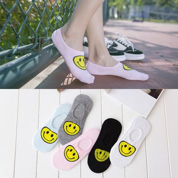 Summer Woman Invisible Sock Full Cotton Cartoon Shallow Mouth Smiling Face Boat Socks invisible girl boy hoisery 1pair=2pcs ws94