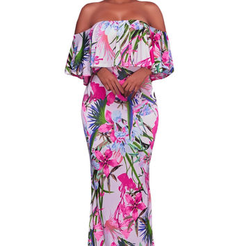 White Pink Floral Print Off Shoulder Maxi Boho Dress LAVELIQ