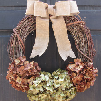 Green / Brown Hydrangea Grapevine Wreath