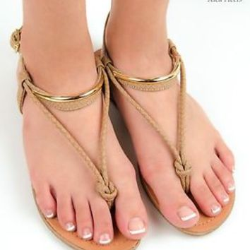 Women's Sandals Gladiator Knot Thong Flat Sandal Shoe Slingback Teal Tan Beige
