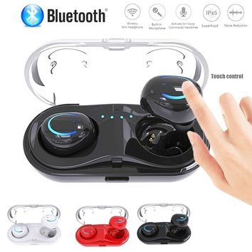 TWS Q18 Touch Control Wireless Bluetooth In-ear Twins Earphones Noise Reduction Earbud Headset with Charging Box