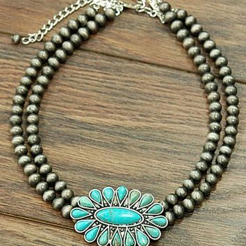 Natural Turquoise Stone Short Necklace