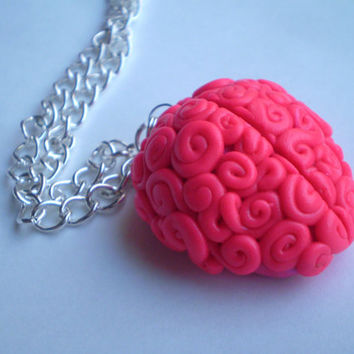 Hot Pink 20 Toggle Clasp Brain Necklace by ChelseaSmileVintage
