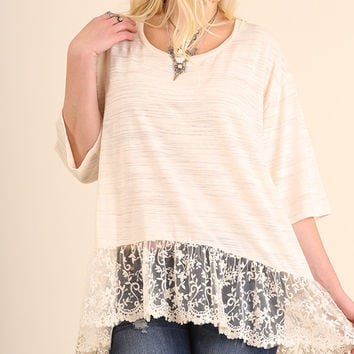 Relax Fit Top with Lace Detail