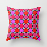 Polka Brights (pink/red) Throw Pillow by Natalie Baca