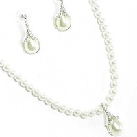 White Pearl Bridal Necklace Earring Set W Crystal Teardrop Pendant Silver Tone
