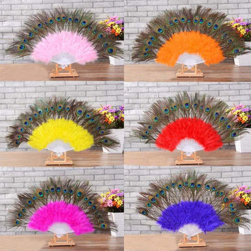 Handmade Chinese Japanese Folding Feather Hand Peacock Eye Fan High Quality