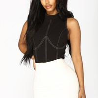 Material Girl Stitched Bodysuit - Black