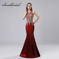 100% Real Picture Burgundy Taffeta Evening Dresses 2018 Gold Lace Appliques Long Mermaid Party Gown Cheap Prom Dress OL548