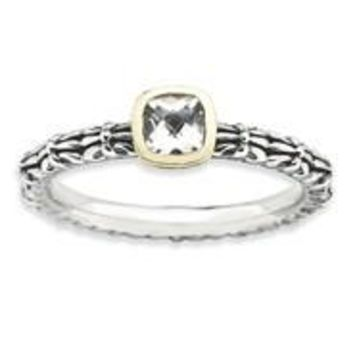 Sterling Silver & 14k Yellow Gold Checker-cut White Topaz Antiqued Ring