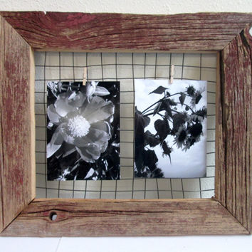 Barnwood Frame Picture Hanger/Jewelry Organizer holder display repurposed barn wood, wire clothespin photo hanger
