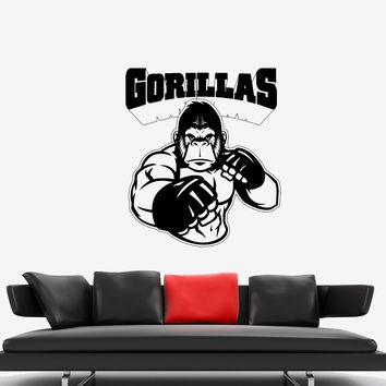 Wall Decal Animal Gorilla Fighter Martial Arts MMA Fight Vinyl Sticker Unique Gift (ed597)