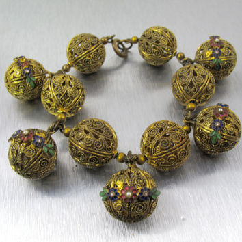 Art Deco Gold Brass Bead Charm Bracelet, Filigree Enamel Flowers Seed Pearls, Vintage Art Deco 1920s Jewelry