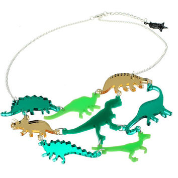 Dinosaur Necklace //  Green OR Pink Mirror acrylic dinosaur statement necklace // Laser cut dinosaur jewellery//P-NE360