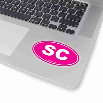 South Carolina SC Euro Oval Sticker SOLID PINK