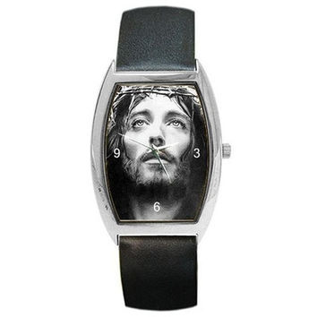 Jesus in Black & White on Barrel Watch w/ Leather Band