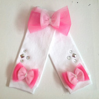 White leg warmers with pink bows and matching hair clip- Pink bow- Baby Toddler Child