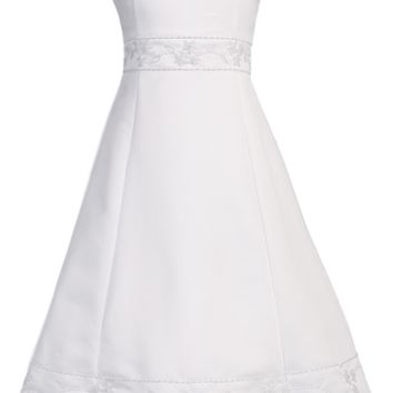 Satin A-Line Girls Plus Size Floral Beadwork Communion Dress 10x-20x