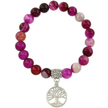 Healing Beaded Tree of Life Bracelet in Fuchsia Agate