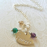 "Auntie Necklace-Thai Silver Chick Charm Hand Stamped with ""Auntie"" with Birthstones of Choice-Gift for Aunt/Auntie Gift"