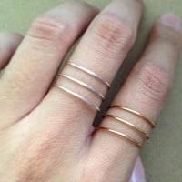 Thin Ring, Knuckle ring. silver ring, gold rings, stacking rings, dainty ring, adjustable ring. simple everyday jewelry.