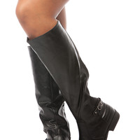 Black Faux Leather Knee High Horse Riding Boots