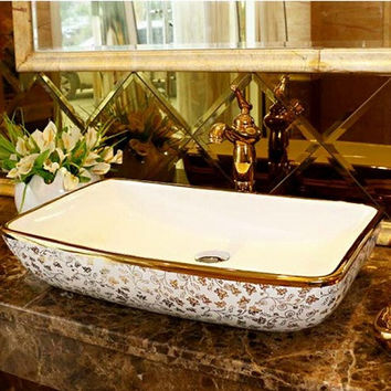 Rectangular Bathroom Lavabo Ceramic Counter Top Wash Basin Cloakroom Hand Painted Vessel Sink 5029