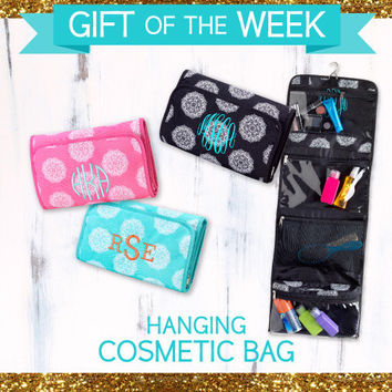 Travel / Hanging Cosmetic Toiletry Bag- Monogrammed