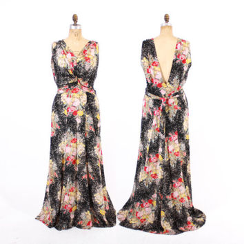 Vintage 30s GOWN / 1930s Black FLORAL Draped Rayon Bias Cut Maxi Evening DRESS L
