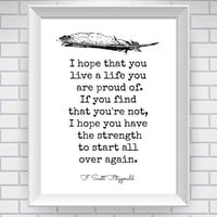 F. Scott Fitzgerald Print Literary Quote by NeverMorePrints