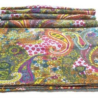 Multicolor Paisley Print King Size Kantha Quilt , Kantha Blanket, Bed Cover, King Kantha bedspread, Bohemian Bedding Kantha Size 90 Inch x 108 Inch