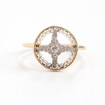 Antique Art Deco 14k Yellow & White Gold Diamond Compass Ring - Vintage 1920s Stick Pin Conversion Fine Filigree Target Star Motif Jewelry
