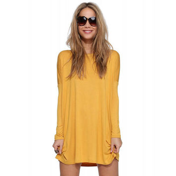 Solid Long Sleeves Loose Mini Dress