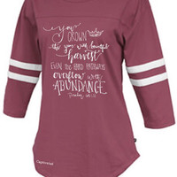 Sassy Frass Captivated Harvest Maroon Rally Jersey Long Sleeve Bright Girlie T Shirt