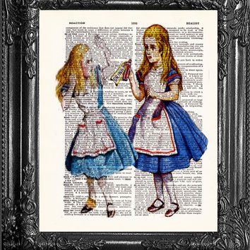 ALICE IN WONDERLAND Drink me Alice-Dictionary Print Vintage Book Print Page Art Upcycled Antique Book Print On Dictionary Upcycled Book Page