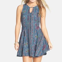 Junior Women's dee elle Print Keyhole Chiffon Skater Dress