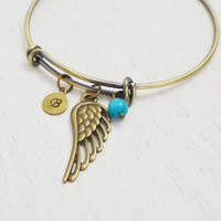angel wing bracelet, best friend bangle, memorial bracelet, memorial jewelry, feather bracelet, remembrance gift, baby loss jewelry, bff