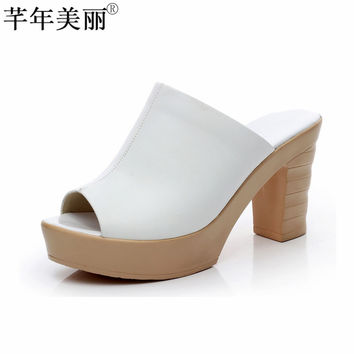 Women's High Heel Genuine Leather Peep Toe Wedge Mules Outdoor Antiskid PU Sole Black White Fashion Platform Shoes WSL002