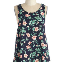 ModCloth Mid-length Sleeveless Fleur-ever and Always Top