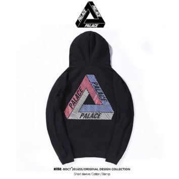 Triangle Series Palace Fleece Hooded Hooded Sweater Male and Female Lovers Casual Tops Black