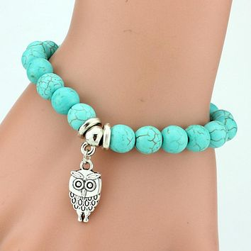 Natural Stone Pendant Bead Bracelet For Women