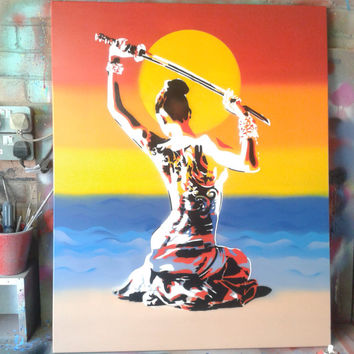 Japanese nude Geisha with samurai sword,painting,stencil art,pop art,oriental,tattoo,custom,street art,fine art,women,artist,spray paint art